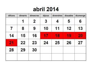 Calendari abril 2014